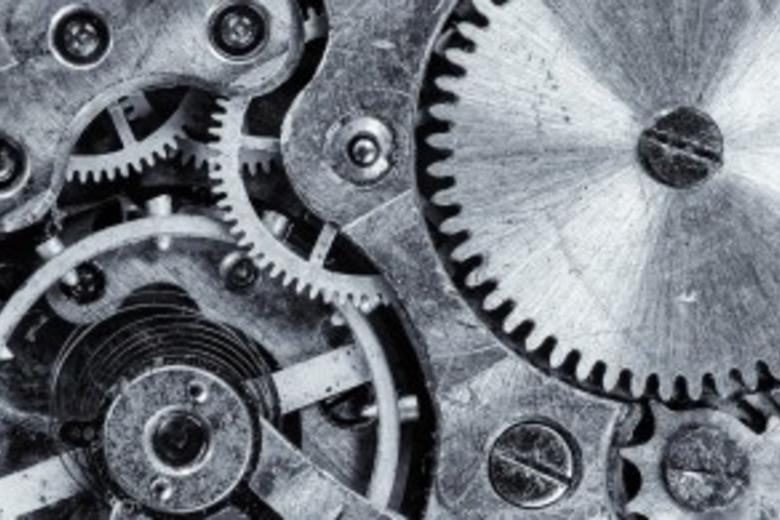 Close up of mechanical cogs