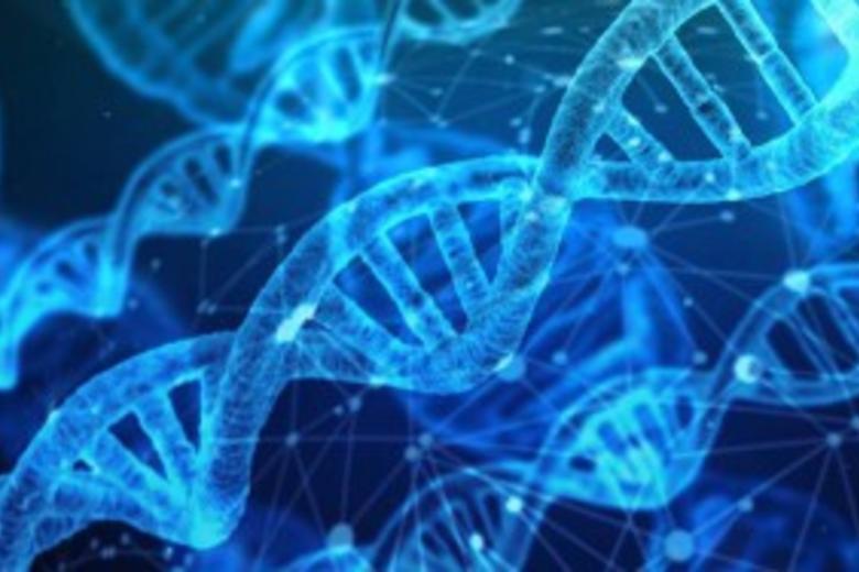 DNA strand in blue