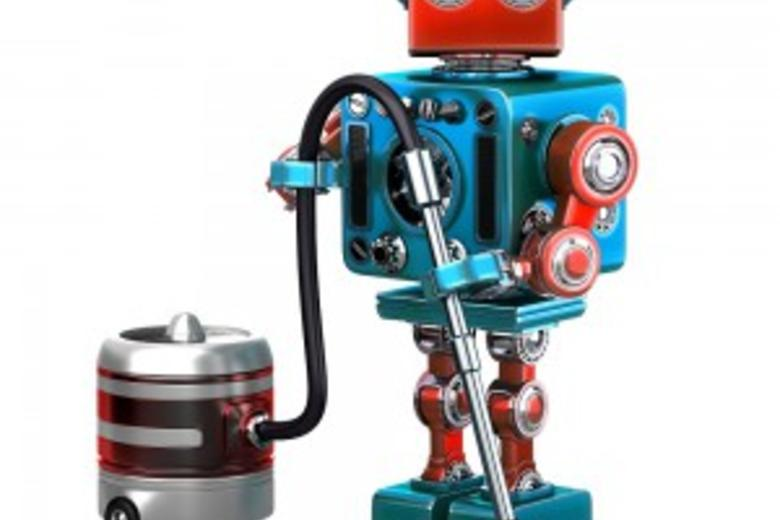 Red and blue robot with a vacuum cleaner